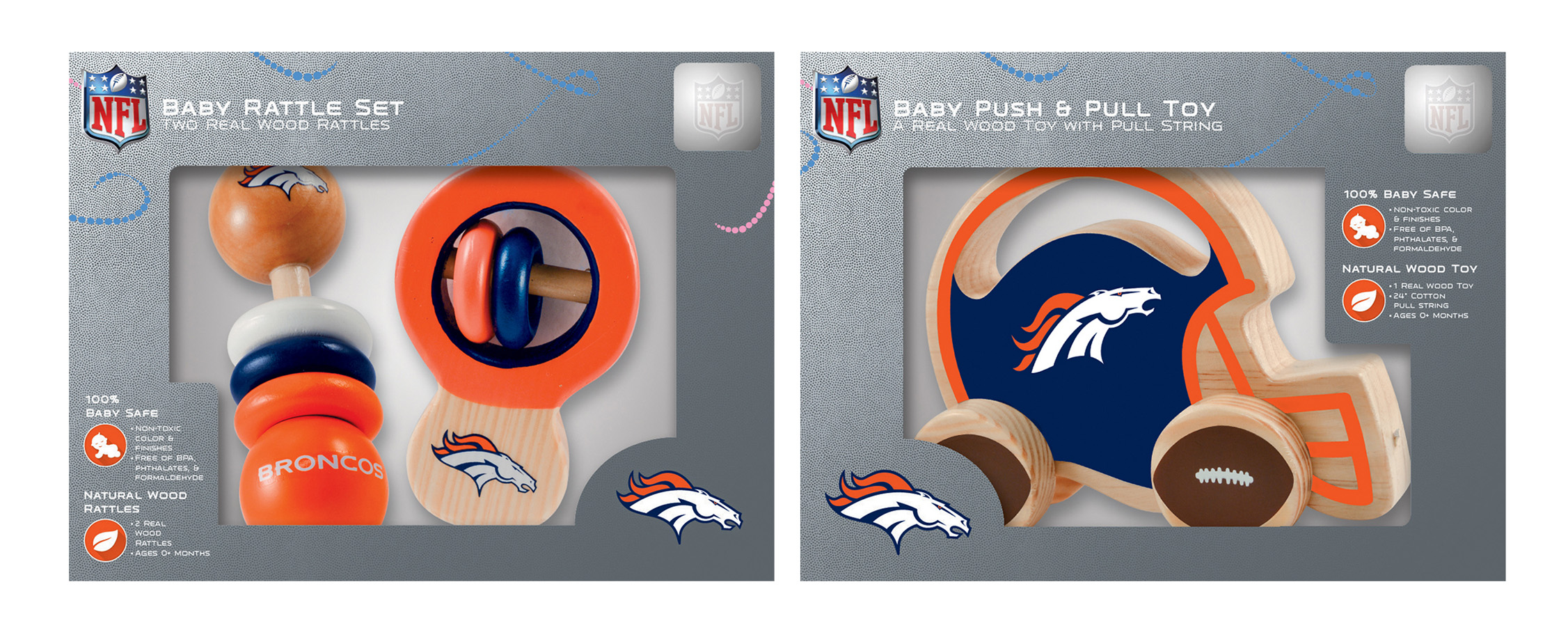 MasterPieces Denver Broncos Rattle and Push & Pull Toy